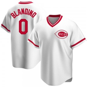 Youth Alex Blandino Cincinnati Reds Replica White Home Cooperstown Collection Jersey