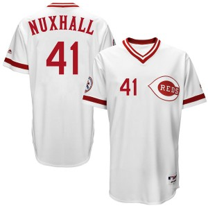 Youth Joe Nuxhall Cincinnati Reds Replica White Cool Base Turn Back the Clock Team Jersey by Majestic