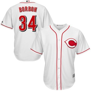 Men's Pedro Borbon Cincinnati Reds Authentic White Cool Base Home Jersey by Majestic